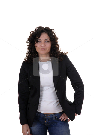 Stand stock photo, Young woman with a smile standing in a white background by Rui Vale de Sousa