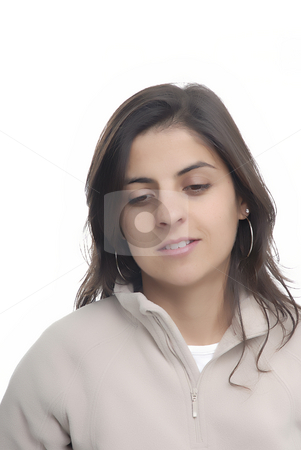 Girl stock photo, Young woman portrait standing in a white background by Rui Vale de Sousa