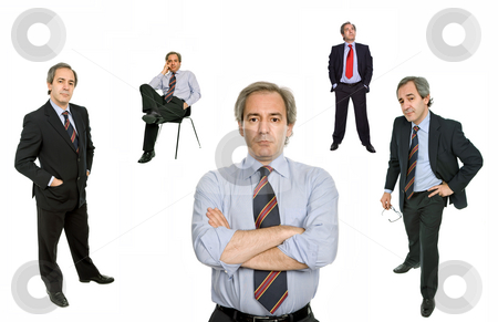 Different positions stock photo, Mature businessman in different positions, isolated on white by Rui Vale de Sousa