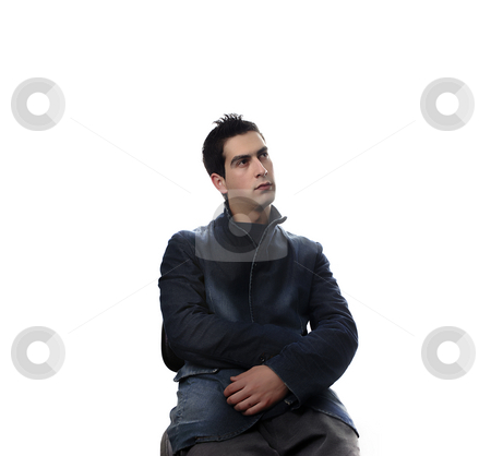 Guy stock photo, Young casual man portrait in a white background by Rui Vale de Sousa