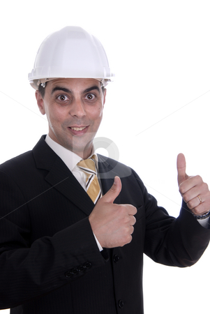 Helmet stock photo, An engineer with thumb up, isolated on white by Rui Vale de Sousa