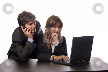 Working stock photo, Young business couple working with her laptop by Rui Vale de Sousa