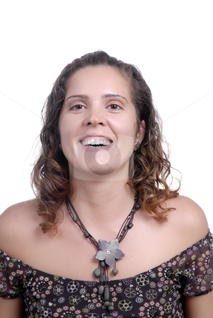 Woman stock photo, Young attractive woman smiling, over white background by Rui Vale de Sousa