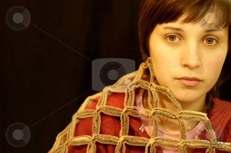 Brunet stock photo, Young brunet woman portait in a black background by Rui Vale de Sousa