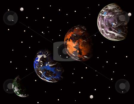 Alien stock photo, Alien solar system, computer illustration generated digital art by Rui Vale de Sousa