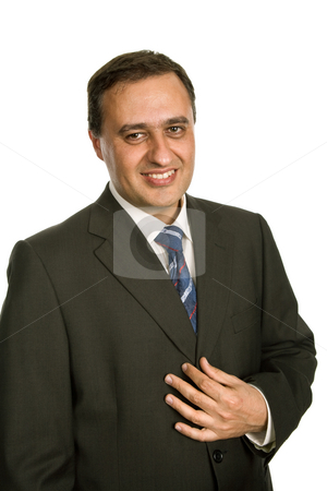 Happy stock photo, Young business man portrait in white background by Rui Vale de Sousa