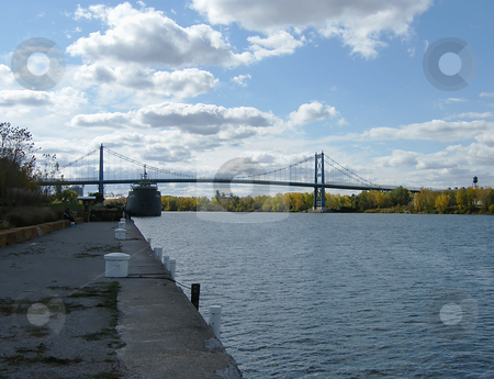 Along the Maumee River stock photo, Along the Maumee River, Willis B Boyer Museum Ship and Anthony Wayne Bridge in the background. by Dazz Lee Photography