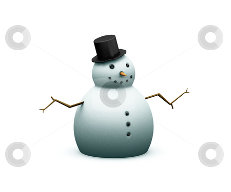 Snowman stock photo, 3D render of a snowman by Kirsty Pargeter