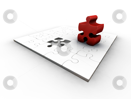 The final piece stock photo, 3D render of a puzzle with one red piece by Kirsty Pargeter