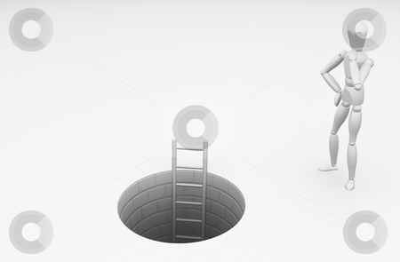 Should I climb down? stock photo, 3D render of someone wondering whether to climb down the ladder by Kirsty Pargeter