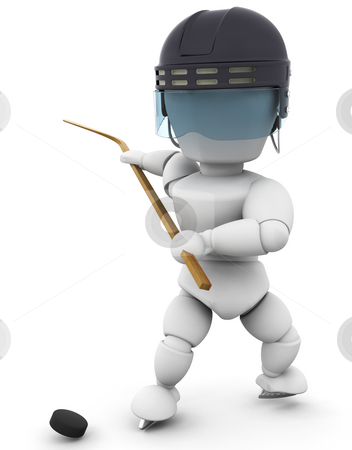 Hockey player stock photo, 3D render of a hockey player by Kirsty Pargeter