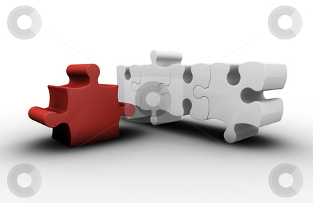 Individuality stock photo, 3D render of one red puzzle piece amongst white ones by Kirsty Pargeter