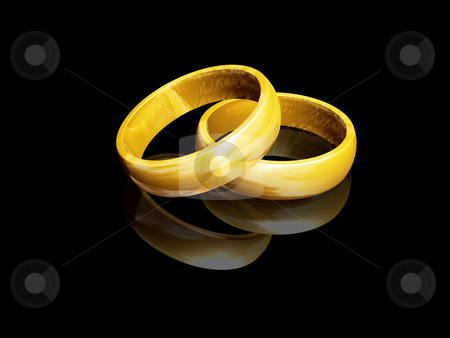 Wedding rings stock photo, 3D render of wedding rings by Kirsty Pargeter