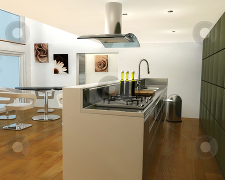 Contemporary kitchen stock photo, 3D render of an interior of a contemporary kitchen by Kirsty Pargeter