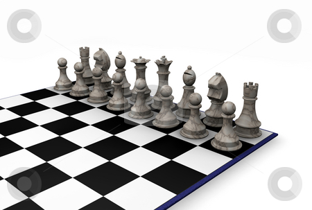 Chess pieces stock photo, 3D render of chess pieces by Kirsty Pargeter
