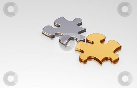 Puzzle pieces stock photo, 3D render of connecting puzzle pieces by Kirsty Pargeter