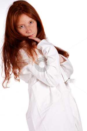 Sex natural red nurse seducing you with her eyes stock photo, Portrait of a natural redhead in urses uniform seducing you by Frenk and Danielle Kaufmann