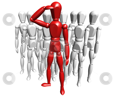 Leadership stock photo, 3D render of one person leading a group by Kirsty Pargeter