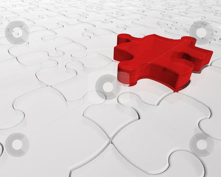 Individuality stock photo, 3D render of a jigsaw puzzle with one red piece prominent by Kirsty Pargeter