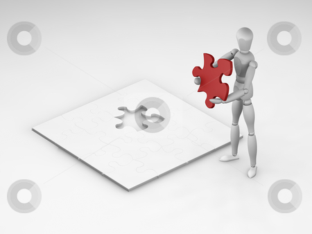 The final piece stock photo, 3D render of someone holding the final piece of a puzzle by Kirsty Pargeter