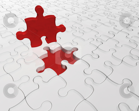 Individuality stock photo, 3D render of a jigsaw with one red piece prominent by Kirsty Pargeter
