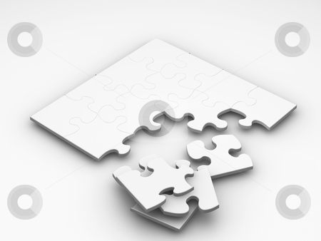 Unfinished puzzle stock photo, 3D render of an unfinished puzzle by Kirsty Pargeter