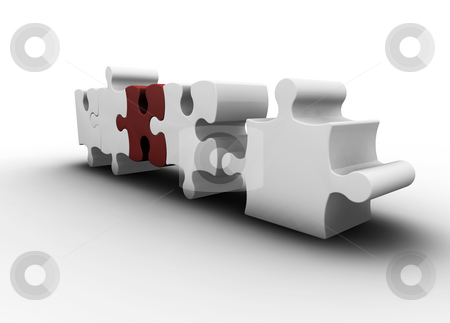 Puzzle pieces stock photo, 3D render of one red puzzle piece amongst white ones by Kirsty Pargeter