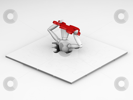 The final piece stock photo, 3D render of someone fitting the final piece of a puzzle by Kirsty Pargeter