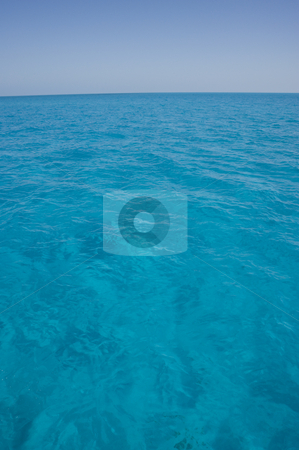 Bahama Surface Portrait stock photo, Portrait oriented background image of blue ocean water with a clear sky by A Cotton Photo