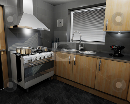 Contemporary kitchen stock photo, 3D render of a contemporary kitchen by Kirsty Pargeter