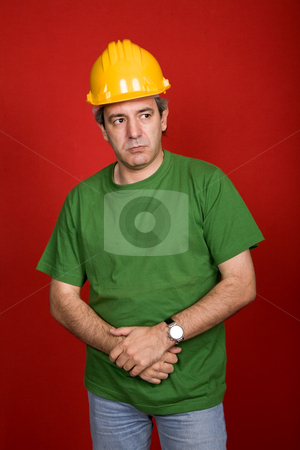 Foreman stock photo, Mature casual foreman on a red background by Rui Vale de Sousa