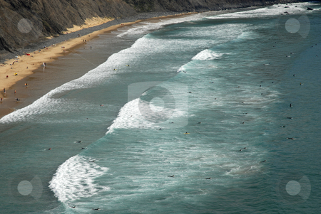 Surfers stock photo, Beach, surfers from above, in the south of portugal by Rui Vale de Sousa