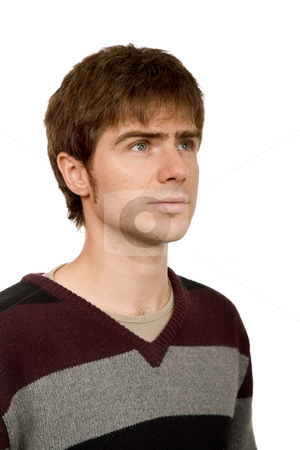 Wondering stock photo, Young casual man portrait in white background by Rui Vale de Sousa
