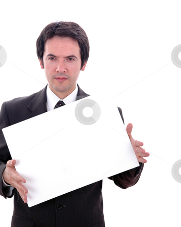 Card stock photo, Young business man with an empty card by Rui Vale de Sousa