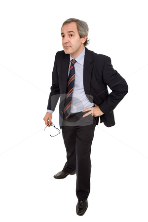 Mature stock photo, Mature business man isolated on white background by Rui Vale de Sousa