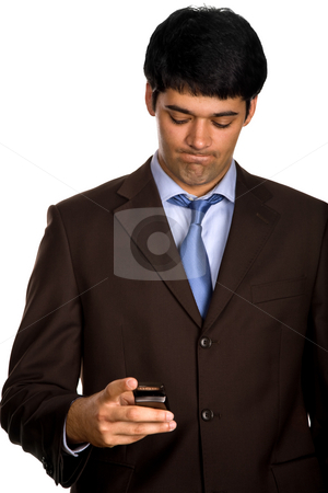 Young stock photo, Young businessman with a phone in white background by Rui Vale de Sousa