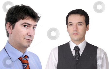 Men stock photo, Two young business men portrait on white. focus on the left man by Rui Vale de Sousa