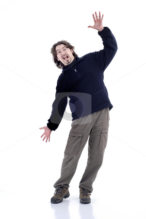 Crazy stock photo, Young crazy man having fun in white background by Rui Vale de Sousa