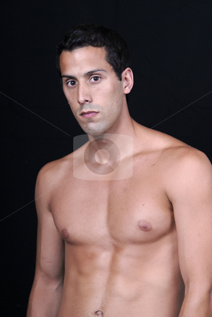 Naked stock photo, Naked muscular male model isolated on black by Rui Vale de Sousa