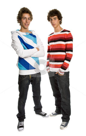 Two young men stock photo, Two young men standing, on a white background by Rui Vale de Sousa