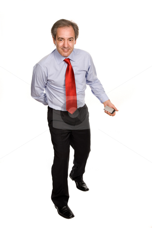Funny stock photo, Mature funny business man, isolated on white by Rui Vale de Sousa