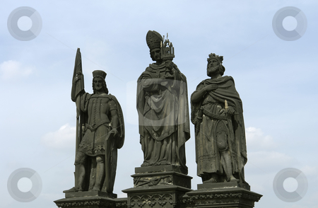Statues stock photo, Saint statues detail on the sharles bridge by Rui Vale de Sousa