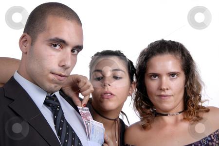 Team stock photo, Team in studio, woman takes money from man poket by Rui Vale de Sousa