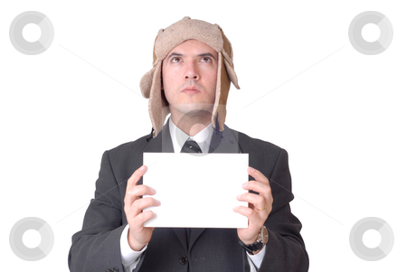 Adds stock photo, Young business man with an empty card by Rui Vale de Sousa