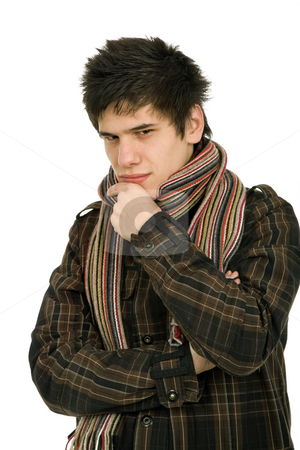 Cold stock photo, Studio picture of a young man dressed for winter by Rui Vale de Sousa