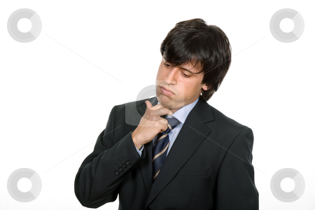 Worried stock photo, Worried business man in a suit, isolated on white by Rui Vale de Sousa