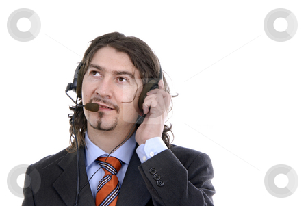 Talking stock photo, Young call center man talking by the phone by Rui Vale de Sousa