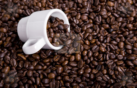 Coffee stock photo, Coffee beans and a white coffee cup by Rui Vale de Sousa