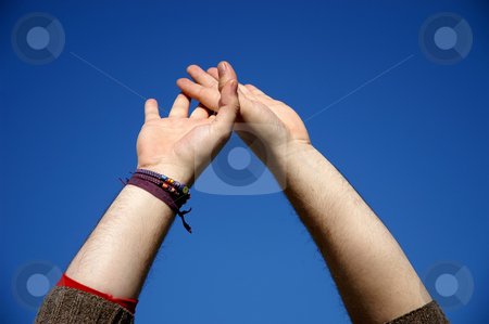 Hands stock photo, Human hands and the blue sky as background by Rui Vale de Sousa