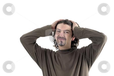 Headache stock photo, Young man portrait in a white background by Rui Vale de Sousa